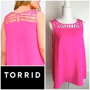 Torrid Hot Pink Caged Cut Out Tank Top 2X
